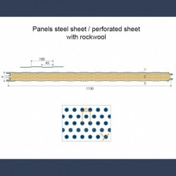 Insulating soundproof panels with steel sheet perforated sheet & rockwool - sketch