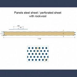 Panneaux isolants acoustique avec tôle pleine tôle perforée et laine minérale - schéma