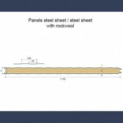 Panneaux isolants acoustique et coupe-feu avec tôles pleines et laine minérale - schéma