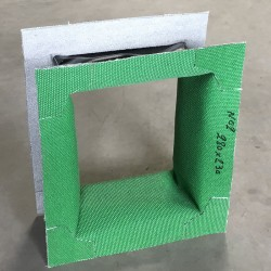 Rectangular expansion joint in fabric