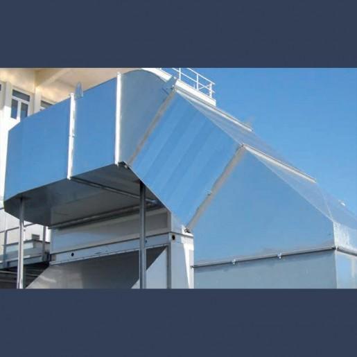 Réseau de gaines de ventilation extérieur avec déport acier galvanisé