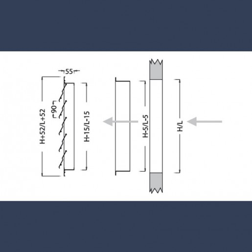 aluminium wall mounted overpressure flaps sketch