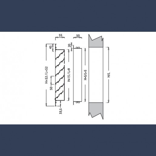 Grille de diffusion d'air aluminium - schéma