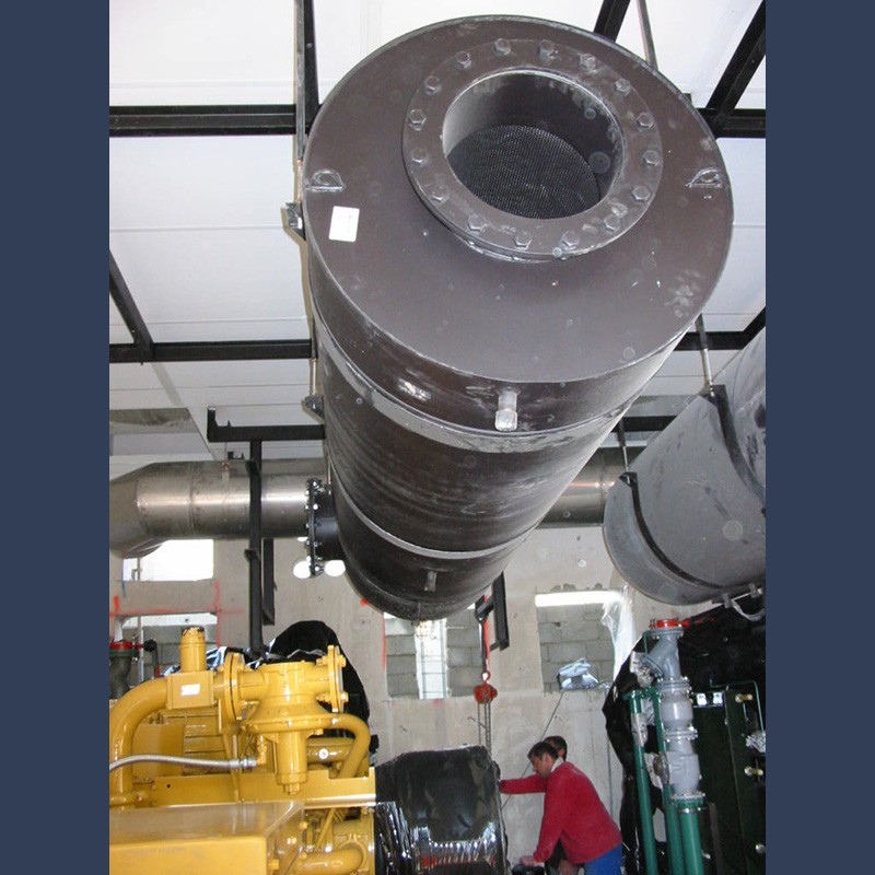 Engine exhaust silencer 40dBA - in situ