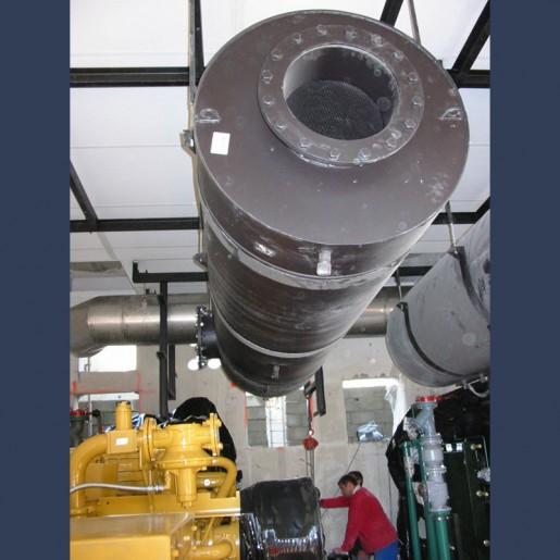 Silencieux cylindrique d'échappement 40dBA - in situ