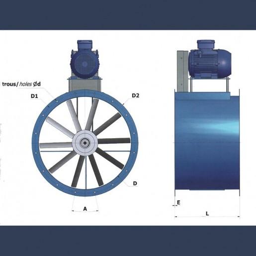 Axial fan Aeib HD1C type dimensions
