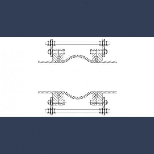 Compensateur de dilalation caoutchouc à brides métalliques simple convolution - fixation