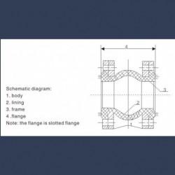 Compensateur de dilalation caoutchouc à brides caoutchouc intégrées et contre-brides métalliques - schéma