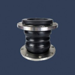 Compensateur de dilalation caoutchouc à brides métalliques double convolution
