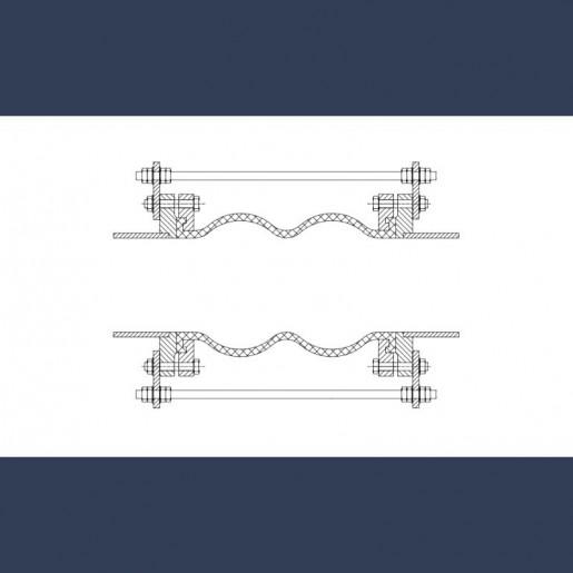 Compensateur de dilalation caoutchouc à brides métalliques double convolution - fixation