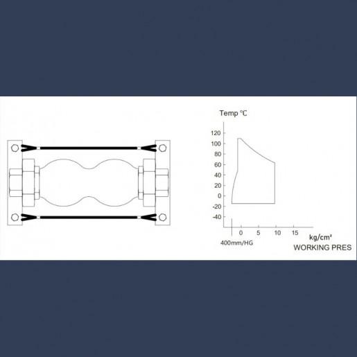 Compensateur de dilatation en caoutchouc avec filetages - schéma