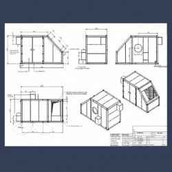 Capotage acoustique pour ventilateur - détails entrée et sortie d'air