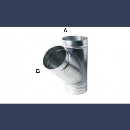 Té de raccordement à 45° pour gaine circulaire en acier galvanisé
