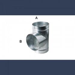 Té de raccordement à 90° pour gaine circulaire en acier galvanisé