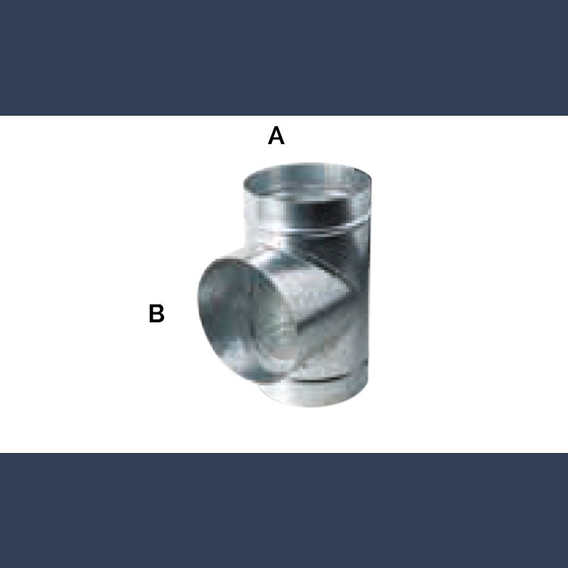 galvanized circular T-shaped connection duct 90°