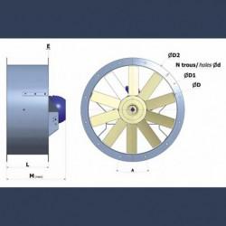 Axial fan Aeib HDO type dimensions
