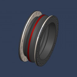 Compensateur de dilalation en caoutchouc à brides intégrées, pour systèmes de tuyauteries industrielles - schéma