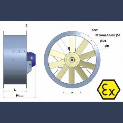 Axial fan Aeib HDO type  ATEX sketch