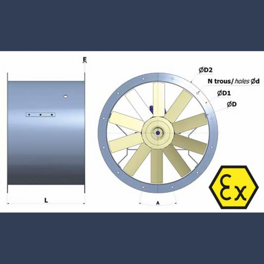 Axial fan Aeib HD1S type ATEX sketch