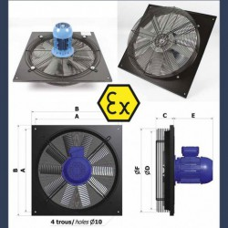 Axial fan Aeib EVXP type ATEX sketch