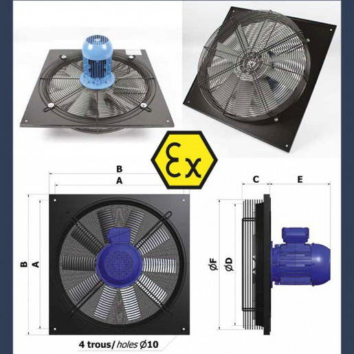 Axial fan Aeib EVXP type ATEX sketch