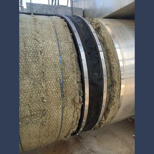 Compensateur de dilatation en tissu avec isolant pour réseaux de tuyauteries pour fluides gazeux - in situ