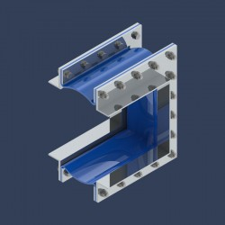 Compensateur de dilatation  à brides pour réseaux de tuyauteries pour fluides gazeux - coupe