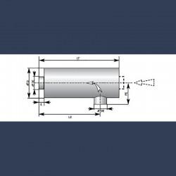 Silencieux cylindrique d'échappement 40dBA - schéma