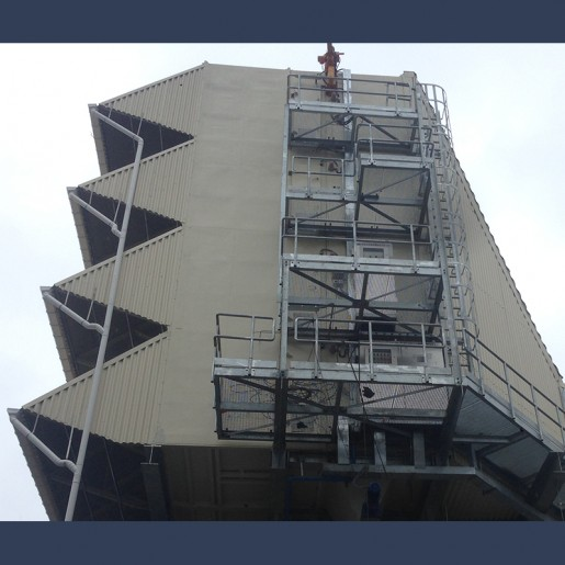 Gas turbine intake filter access platform and ladders