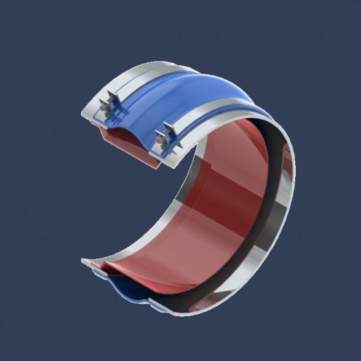 Compensateur de dilatation en tissu type courroie pour réseaux de tuyauteries pour fluides gazeux - coupe