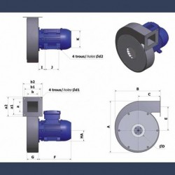 Centrifugal fan Aeib CAHP type details