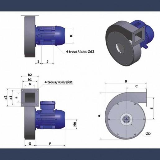 Ventilateur centrifuge bas débit haute pression CAHP - détails