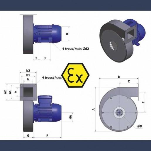 Ventilateur centrifuge bas débit haute pression CAHP ATEX - détails