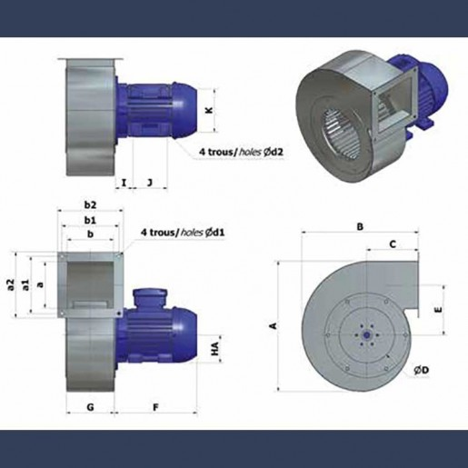 Centrifugal fan Aeib HCAS type details