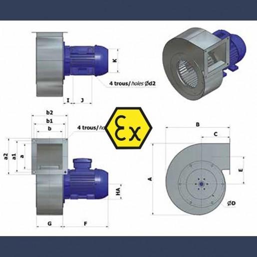 Ventilateur centrifuge bas débit basse pression HCAS ATEX - détails