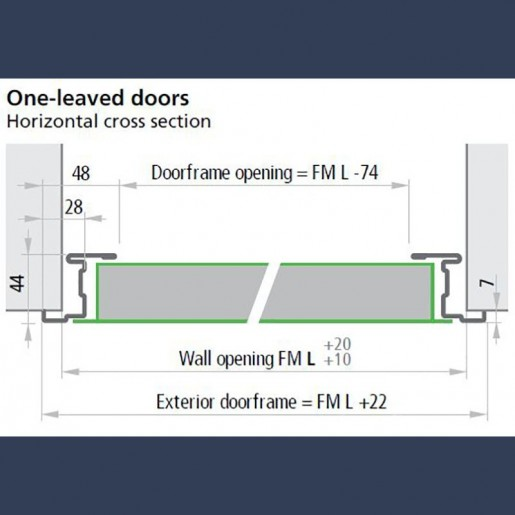 Standard frame on single standard multipurpose door - dimensions sketch