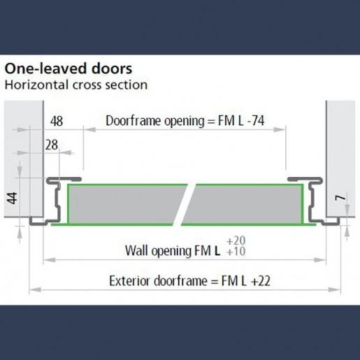 Bâti standard sur porte métallique polyvalente 1 vantail - schéma dimensionnel