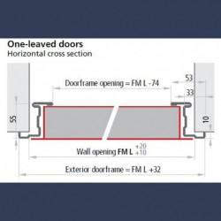 Bâti standard sur porte métallique polyvalente isolée 1 vantail - schéma dimensionnel