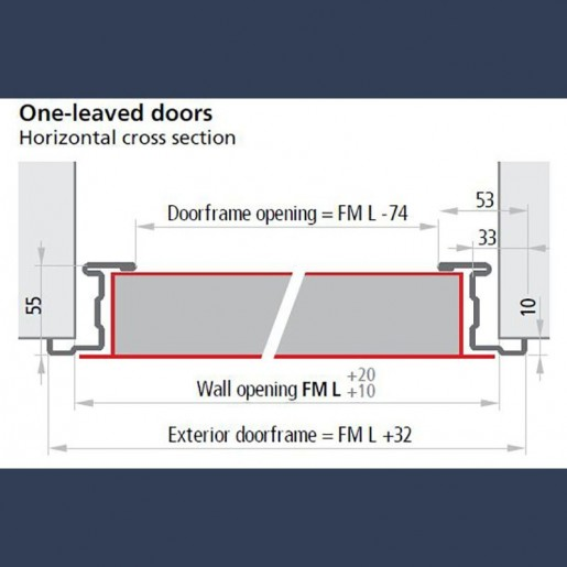 Standard frame on single insulated multipurpose door - dimensions sketch