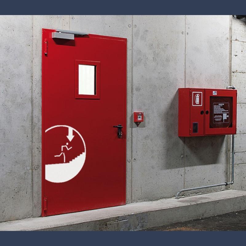 Porte métallique coupe-feu haute résistance EI 120 (classement au feu 2 heures)